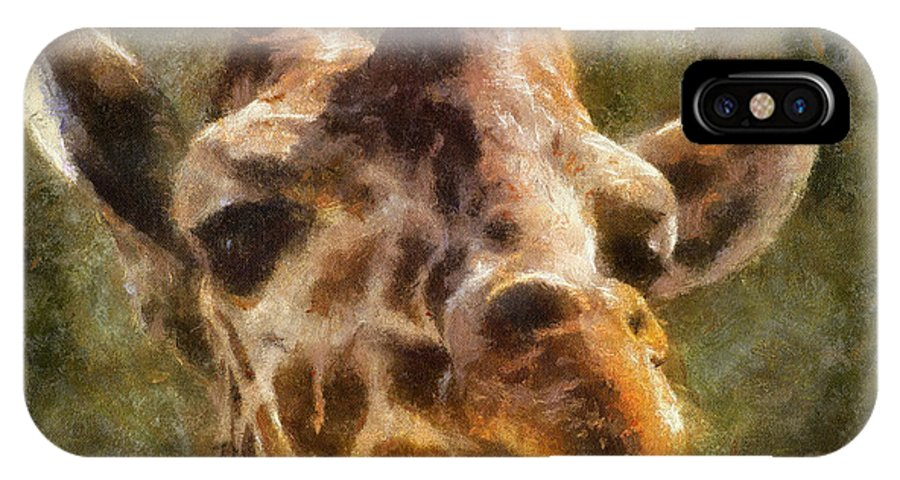 Giraffe IPhone X Case featuring the photograph Giraffe Photo Art 01 by Thomas Woolworth