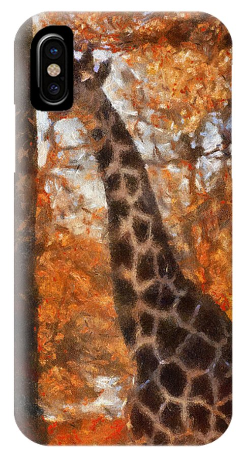Giraffe IPhone X Case featuring the photograph Giraffe Photo Art 03 by Thomas Woolworth