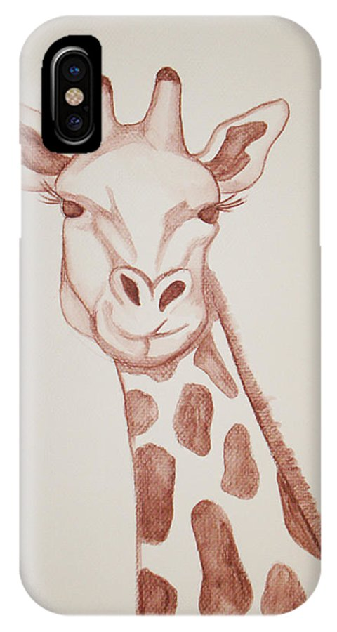 Rick Huotari IPhone X Case featuring the painting Giraffe by Rick Huotari