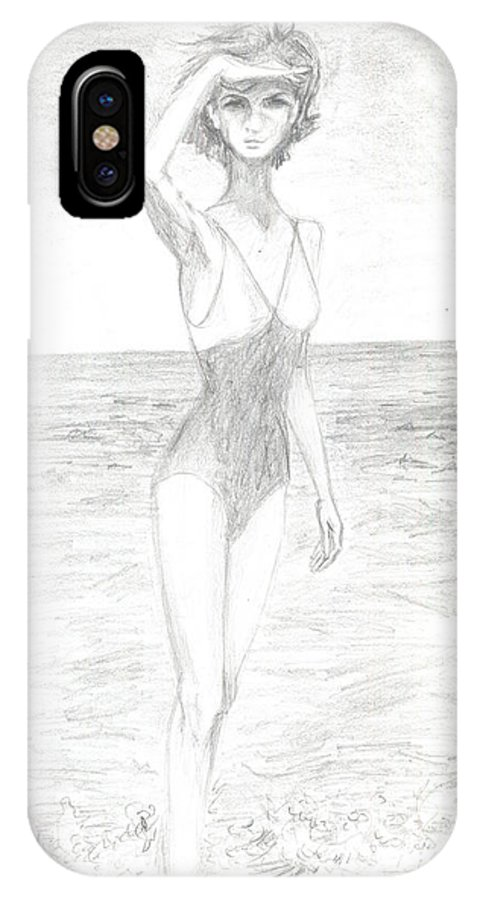 Girl IPhone X Case featuring the drawing Girl And Sea by Levon Saryan