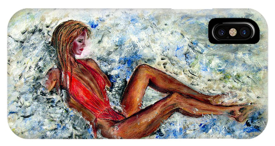 Girl IPhone X Case featuring the painting Girl In A Red Swimsuit by Tom Conway