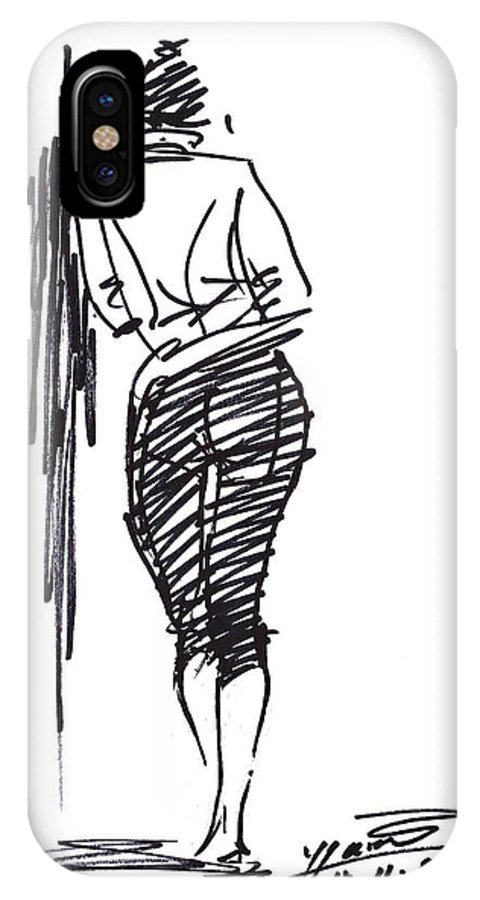 Girl IPhone X Case featuring the drawing Girl Leaning Against Wall by Ylli Haruni