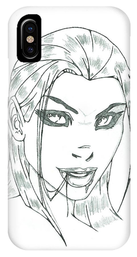 Girl IPhone X Case featuring the drawing Girl by Matt Sutherland