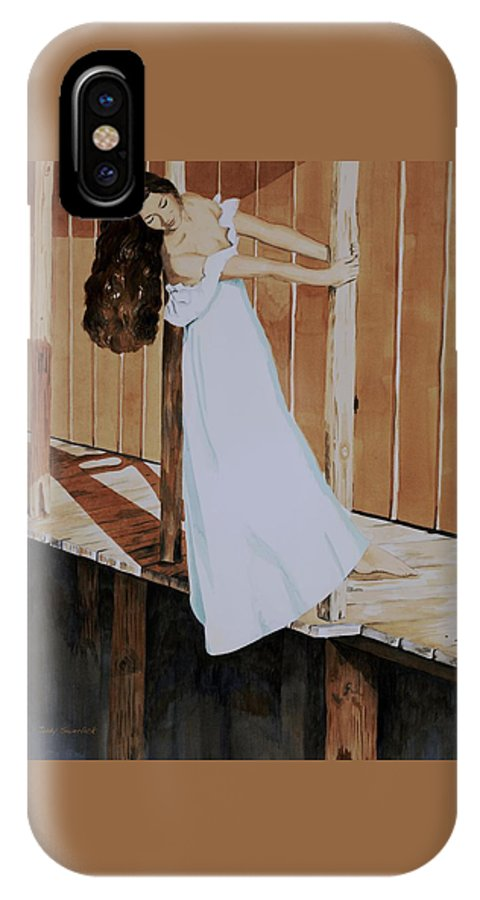 Girl On Dock IPhone X Case featuring the painting Girl On Dock by Judy Swerlick
