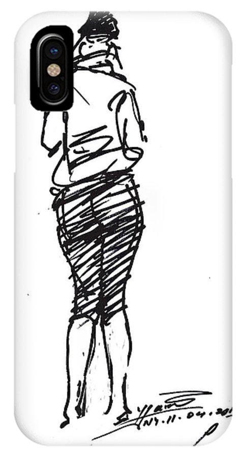 Girl IPhone X Case featuring the drawing Girl Sketch by Ylli Haruni
