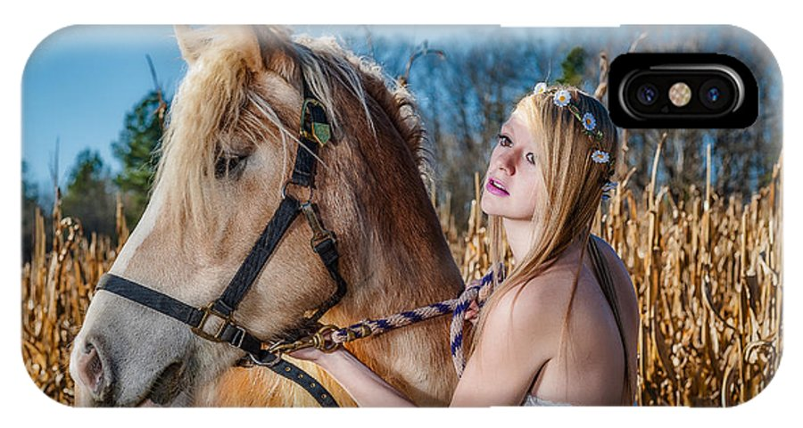 Usa IPhone X / XS Case featuring the photograph Girl With A Horse by Oleg Koryagin
