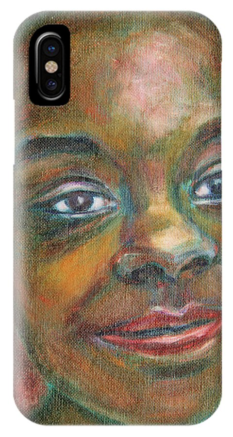 Black IPhone X Case featuring the painting Girl With Diamond Earrings by Xueling Zou