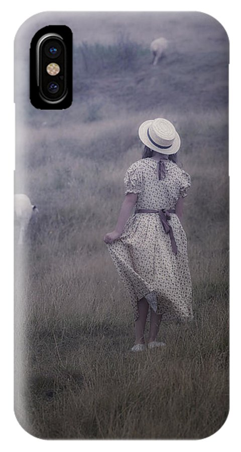 Girl IPhone X Case featuring the photograph Girl With Sheeps by Joana Kruse
