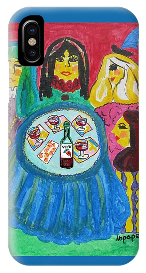 Girlfriends IPhone X Case featuring the painting Girls Night Out by Diane Pape