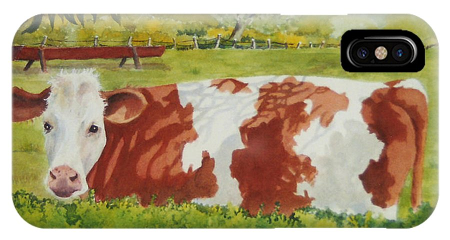 Cows IPhone X Case featuring the painting Give Me Moooore Shade by Mary Ellen Mueller Legault
