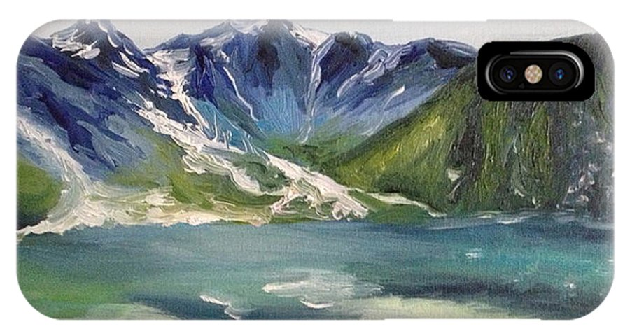 Lake IPhone X Case featuring the painting Glacial Lake by Christy Collins