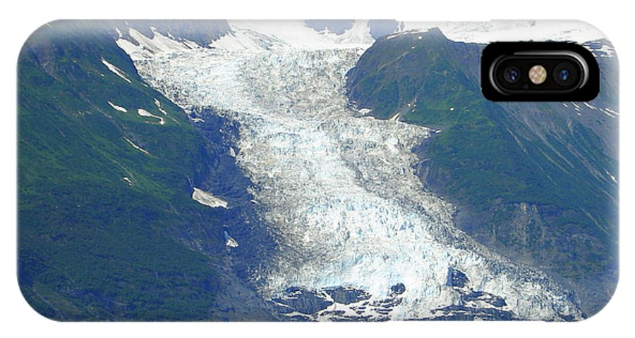 Alaska IPhone X Case featuring the photograph Glacial Spillover by Lew Davis