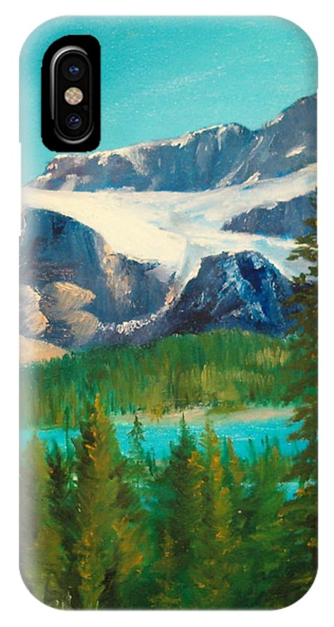 Glacier IPhone X Case featuring the painting Glacier by Ellen Canfield