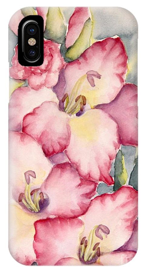 Gladiolus IPhone X Case featuring the painting Gladiolus In Pink by Inese Poga