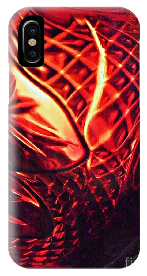 Abstract IPhone X Case featuring the photograph Glass Abstract 218 by Sarah Loft