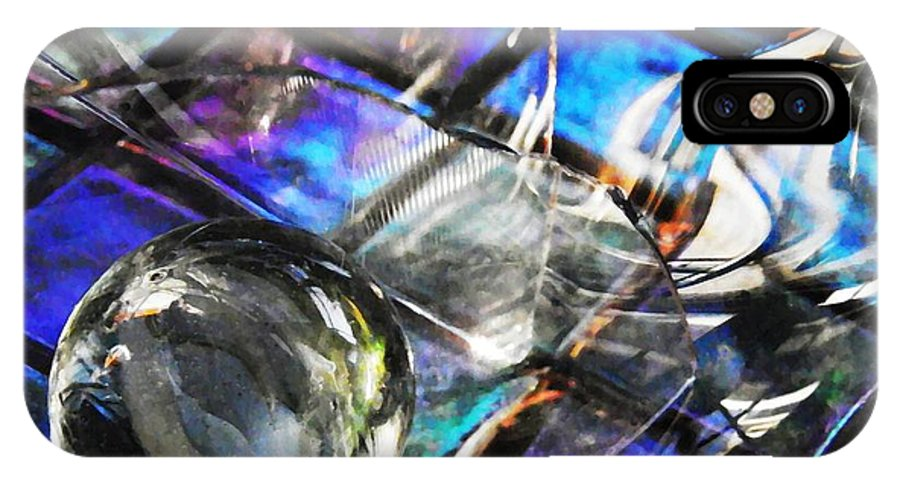 Abstract IPhone X Case featuring the photograph Glass Abstract 396 by Sarah Loft