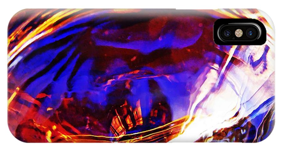 Abstract IPhone X Case featuring the photograph Glass Abstract 554 by Sarah Loft