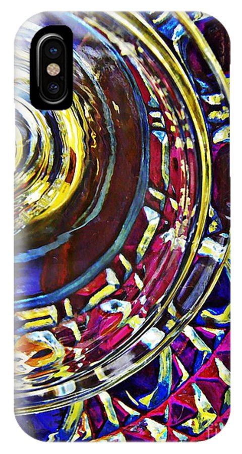 Abstract IPhone X Case featuring the photograph Glass Abstract 588 by Sarah Loft