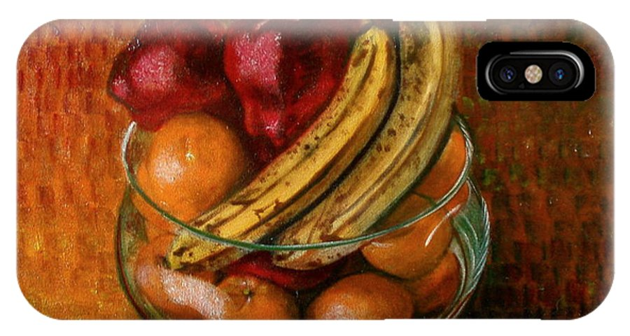 Still Life IPhone X Case featuring the painting Glass Bowl Of Fruit by Sean Connolly