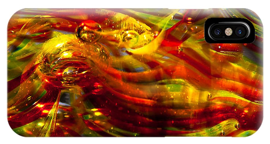 Glass IPhone X Case featuring the photograph Glass Macro - Burning Embers by David Patterson