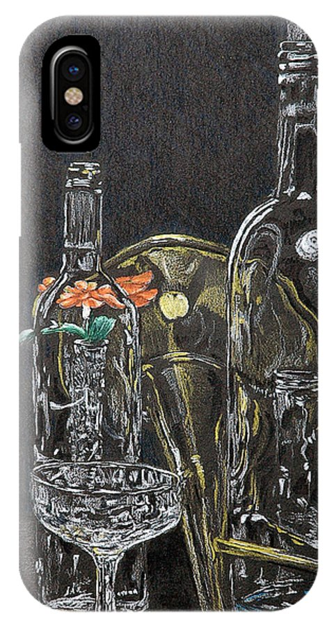 Still Life IPhone X Case featuring the drawing Glass Still Life by Steve Cost