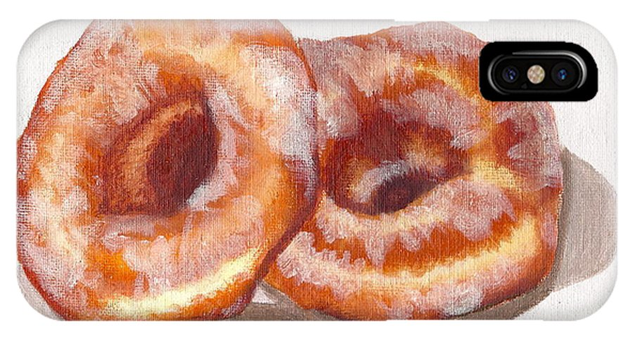 Glazed Donuts IPhone X Case featuring the painting Glazed Donuts by Debi Starr
