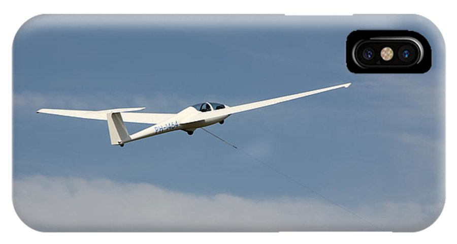 Sky IPhone X Case featuring the photograph Glider In The Sky by Jackie Mestrom