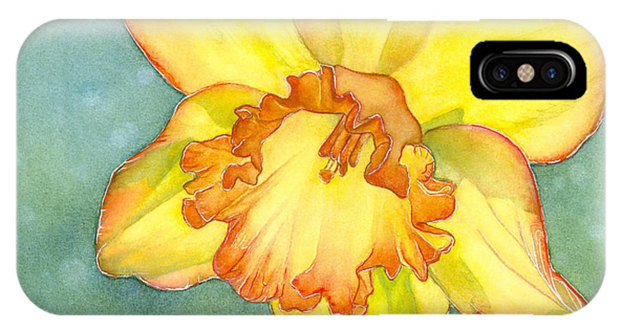 Daffodil IPhone X Case featuring the painting Glow by Shirley Greenville