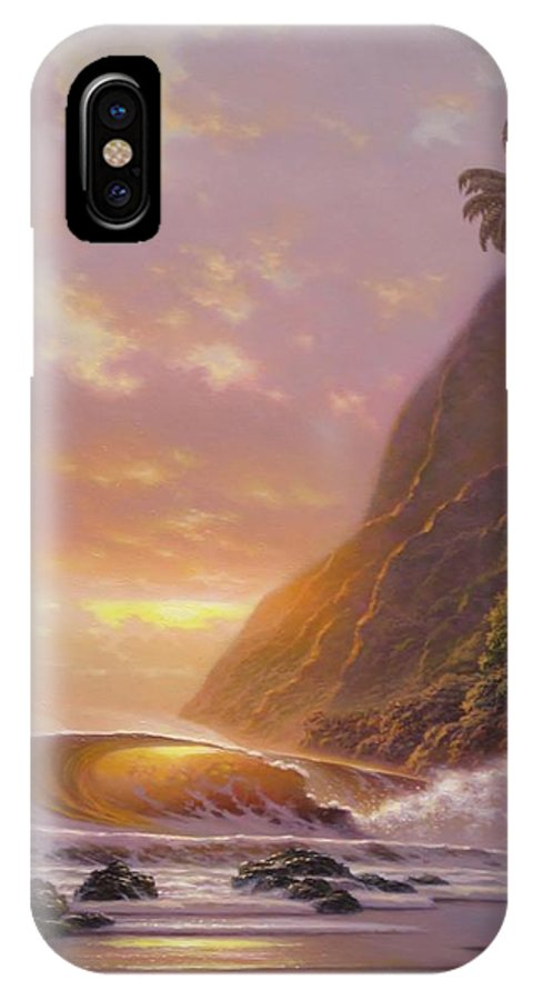 Seascape Paintings IPhone X Case featuring the painting Glowing Skies by Howard Chung