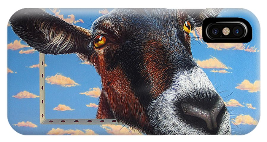 Goat IPhone X Case featuring the painting Goat A La Magritte by Jurek Zamoyski