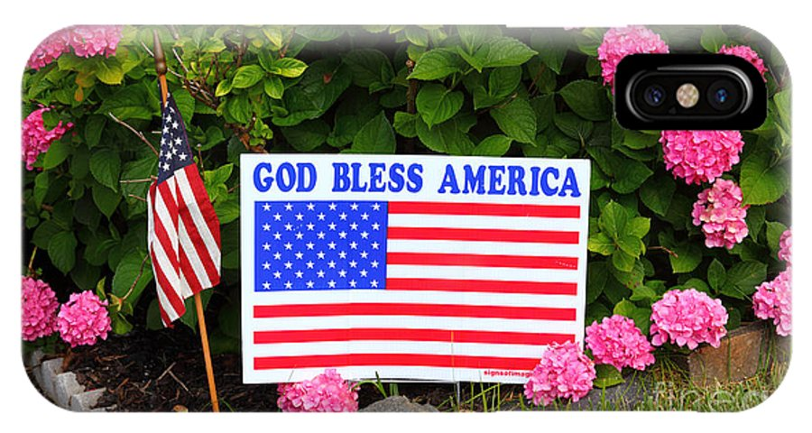 American Flag IPhone X Case featuring the photograph God Bless America by James Brunker