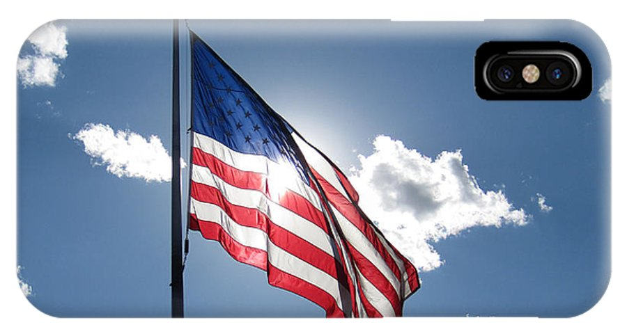 American Flag IPhone X Case featuring the photograph God Bless America by June Hatleberg Photography