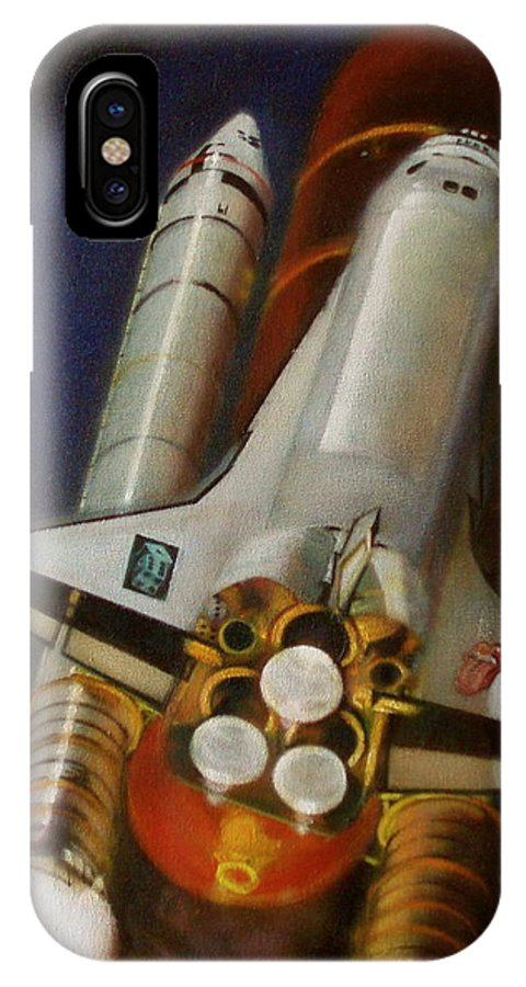 Space Shuttle;launch;liftoff;blastoff;rockets;engines;astronauts;spaceart;nasa;photorealism IPhone X Case featuring the painting God Plays Dice by Sean Connolly
