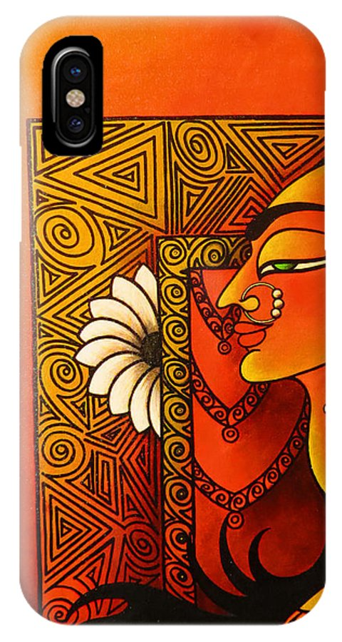Goddess IPhone X Case featuring the painting Goddess Of Creation by Sonali Chaudhari