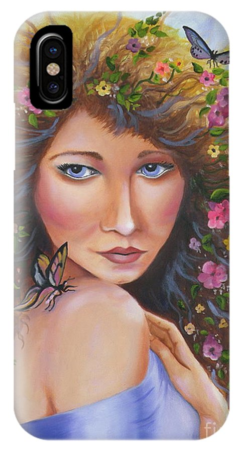 Woman IPhone X / XS Case featuring the painting Spring Beauty by Lora Duguay