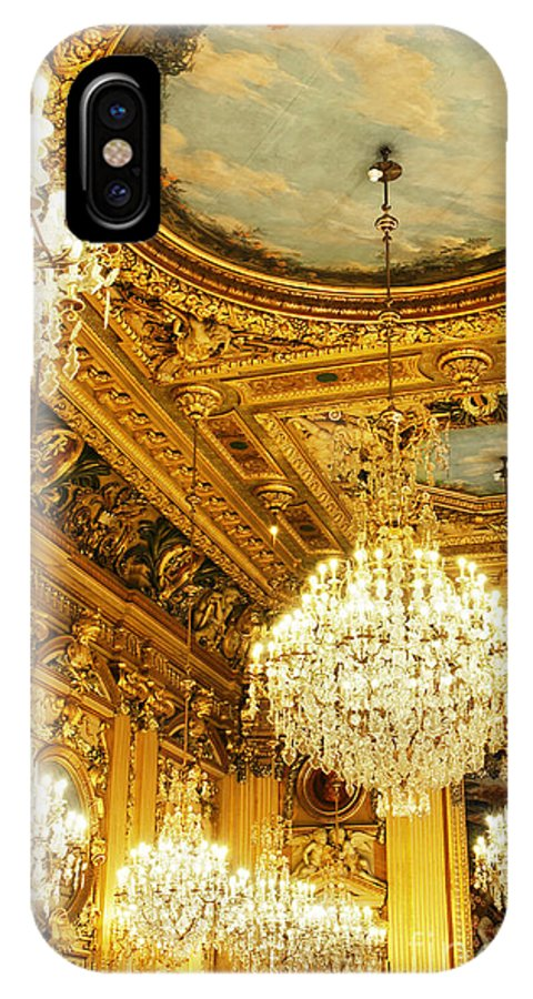 Old IPhone X Case featuring the photograph Gold Ceiling And Chandeliers by Sylvie Bouchard