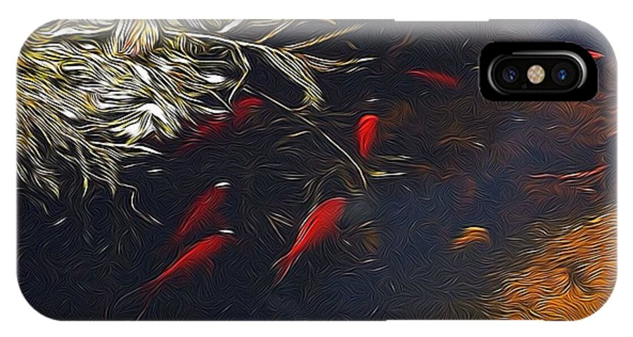 Fish IPhone X Case featuring the photograph Gold Fish Swimming by Brett Beaver
