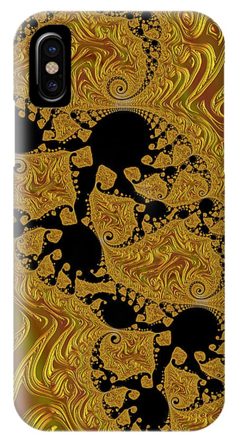 3-d Fractal IPhone X / XS Case featuring the photograph Gold Forming by Ronda Broatch