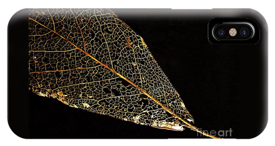 Leaf IPhone X Case featuring the photograph Gold Leaf by Ann Horn