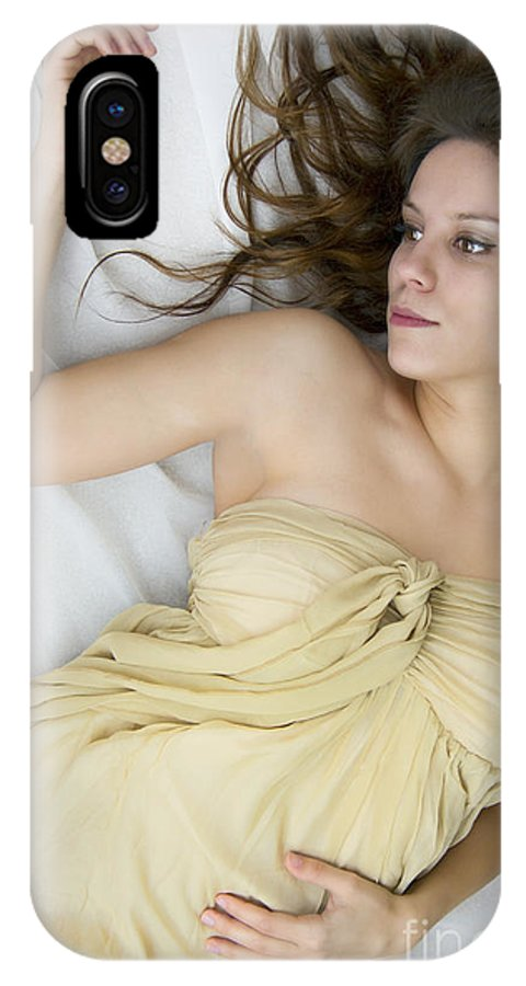 Caucasian; Woman; Lady; Female; Brunette; Beautiful; Elegant; Lovely; Dark Hair; 20s; White; Laying; Sheets; Bed; Fair; Prim; Proper; Feminine; Brown Eyes; Close Up; Gold; Dress; Strapless IPhone X Case featuring the photograph Gold by Margie Hurwich