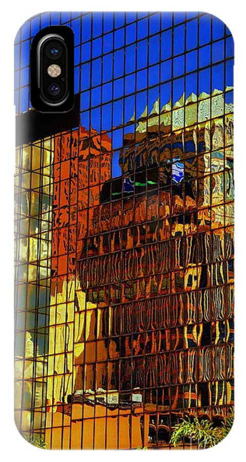 Window IPhone X Case featuring the photograph Gold Reflections by Brian Druggan