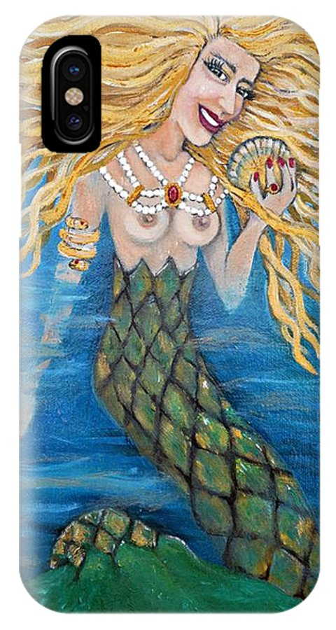Mermaid IPhone X Case featuring the painting Gold Rubies And Pearls by Leandria Goodman