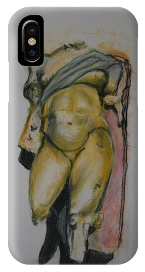 Figure Sketch IPhone X Case featuring the pastel Golden Boy by Donna Kerness
