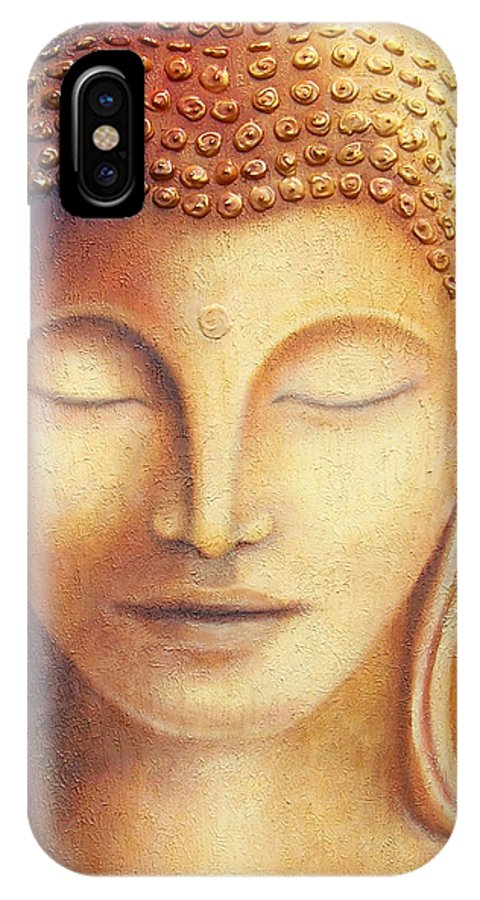 Buddha IPhone X Case featuring the painting Golden Buddha by Diana Moore