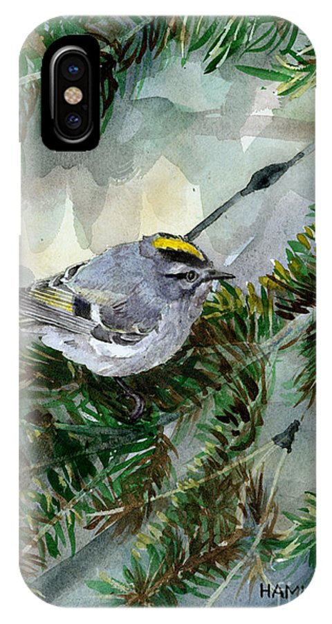 Bird IPhone X Case featuring the painting Golden-crowned Kinglet by Steve Hamlin
