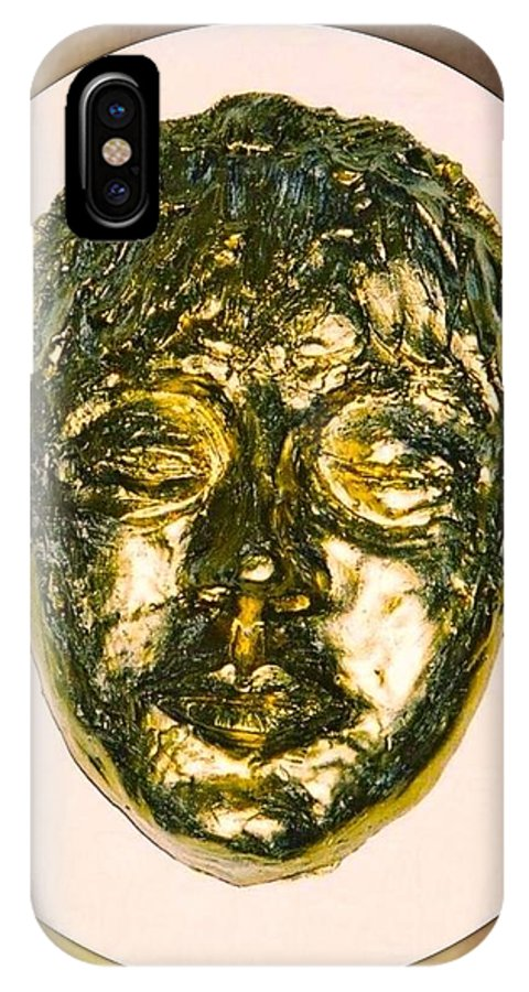 Golden IPhone X Case featuring the sculpture Golden Face From Degas Dancer by Joan-Violet Stretch
