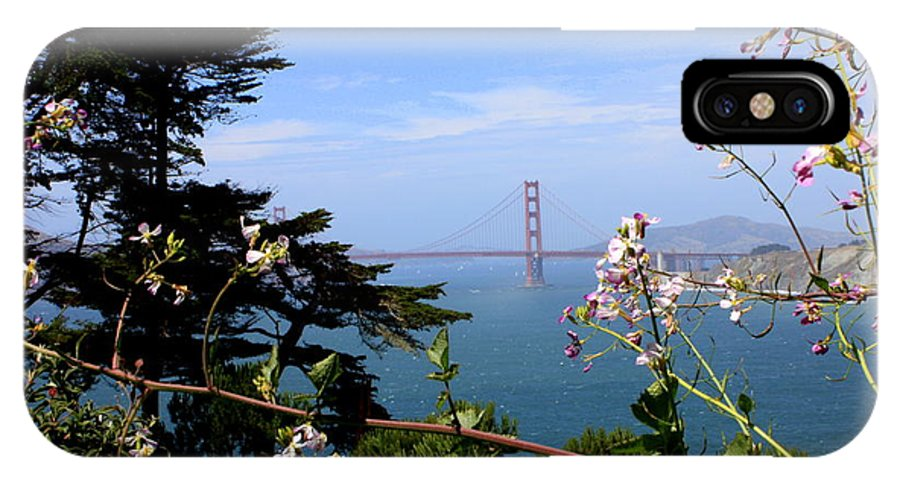 San Francisco IPhone X Case featuring the photograph Golden Gate Bridge And Wildflowers by Carol Groenen