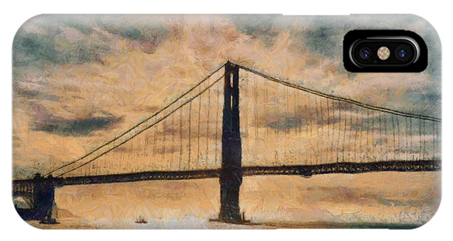 San Francisco IPhone X Case featuring the digital art Golden Gatepost by Chris Coyle