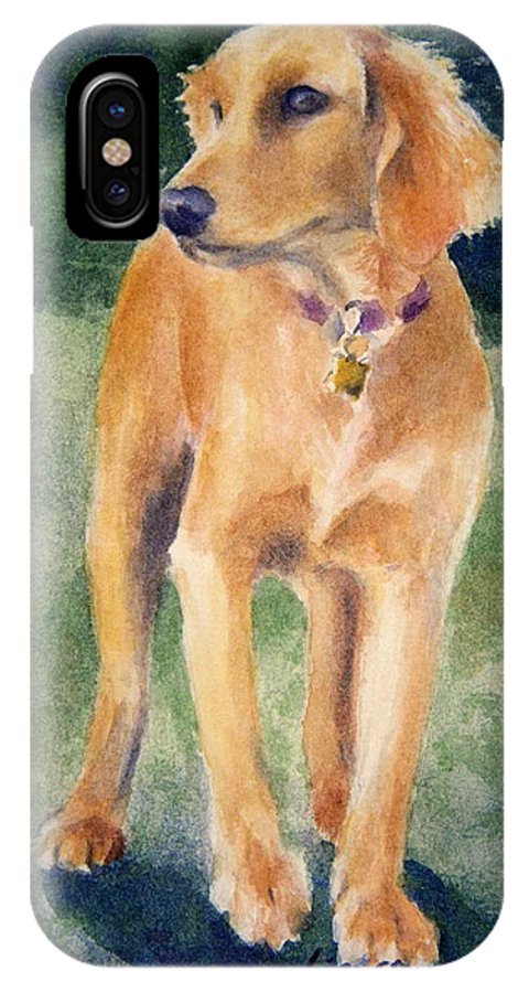 Dog IPhone X Case featuring the painting Golden Girl by Lisa Pope