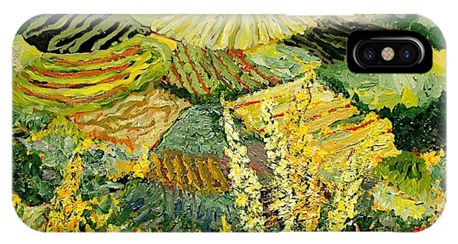 Landscape IPhone X Case featuring the painting Golden Hedge by Allan P Friedlander